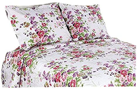 ALL FOR YOU 2-Piece Embroidered Quilted Pillow Shams-Standard Size (Pink and Purple Flower)
