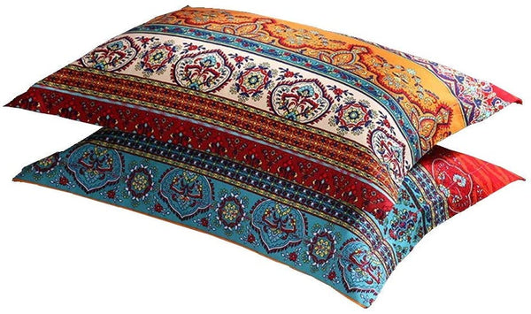 "LELVA Boho Pillow Cases Set of 2 Piece Queen Standard Colorful Bohemian Striped Pillowshams 100% Cotton Brushed Pillow Covers Pillow Protectors 20"" x 30"" Pattern# 1"