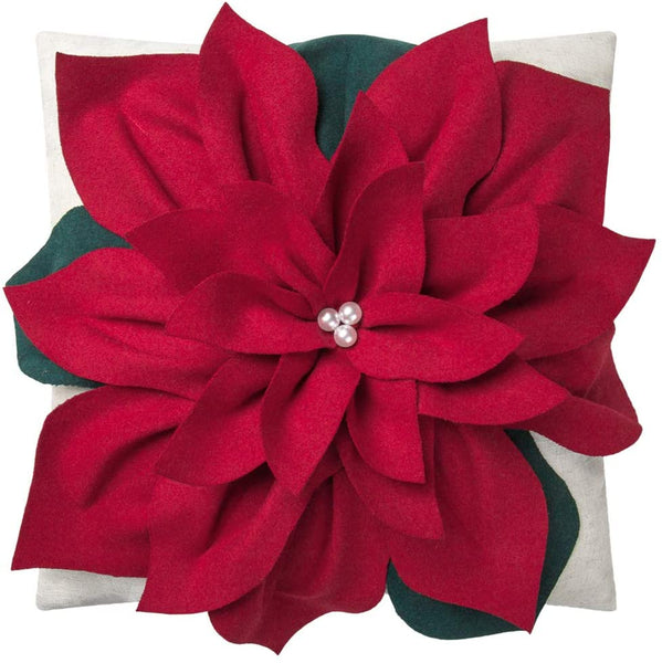 King Rose Christmas 3D Flower Accent Pillow Cover Festival Red Floral Throw Pillow Case Decorative Cushion Cover for Sofa Couch Bed Living Room Home Decor 18 x 18 Inches