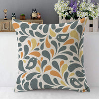 Mugod Birds and Floral Throw Pillow Couple Bird Fall Flower Leaf Gray Orange White Cotton Linen Square Cushion Cover Standard Pillowcase 18x18 Inch for Home Decorative Bedroom/Living Room/Car