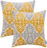 HWY 50 Cotton Linen Yellow Gray Decorative Embroidered Throw Pillows Covers Set Cushion Cases for Couch Sofa Living Room Geometric Floral 18 x 18 inch Pack of 2