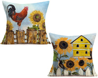 "Fukeen Sunflower Decorative Holiday Pillow Covers Yellow Floral Design Pillow Cases Square Cotton Linen Set of 2 Throw Pillow Cushion Cover Home Sofa Garden Decor Pillow Sham 18""x 18"""