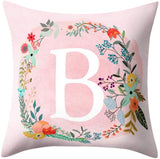 Uscharm Throw Pillow Covers 26 Letters Floral Pillowcases Alphabet Soft Cushion Covers White Square Pillow Protectors for Sofa Bedding Couch Bedroom Car Chair Home Decor(White Rose - S,18 X 18IN)