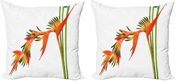 "Ambesonne Floral Decorative Throw Pillow Case Pack of 2, Exotic Tropical Flowers on Branch Colorful Nature Jungle Garden Theme Image Print, Couch Bedroom Living Room Cushion Cover, 24"", Orange Green"