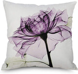 Throw Pillow Cover Decorative Durable Cushion Cover 18 x 18 Pillow Case Beautiful Flowers Tulip Watercolor Vibrant Purple Color Hidden Zipper Home Decor Spring Summer Sofa Couch Bedroom Living Room