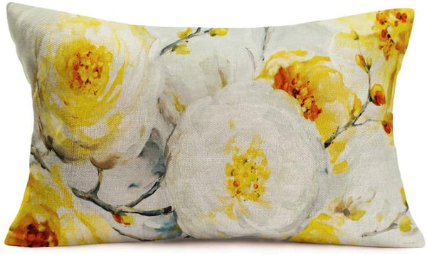Royalours Throw Pillow Cover Oil Painting Peonies Indy Bloom Yellow Floral Decorative Cotton Linen Home Office Throw Waist Lumbar Pillow Case Cushion Cover Rectangle 12 X 20 Inches (ROL20)