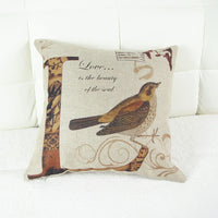 ChezMax Set of 4 Cushion Cover Printed Linen Flax Throw Pillow Case Square Pillowcase for Couples Lovers Dinning Drawing Room Sofa Couch Chair Seat Back Vintage Floral Bird and Love Letters