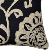 AGASVI Pack of 2 Washed Matt Cotton Duck Beige Floral Embroidered Square Handcrafted Bohemian Decorative Throw Pillow Covers Set for Sofa Couch Bedroom Car Home Decor, Black 20 x 20 Inch 50 x 50 cm
