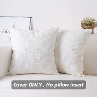 baibu Cotton Embroidered Decor Throw Pillow Case Floral Pattern Cushion Cover for Living Room Off White,1PC