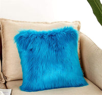 Luxury Long Faux Fur Throw Pillow Case Super Soft Plush Cushion Cover Deluxe Home Sofa Bed Car Party Decorative 18 x 18 Inch Light Yellow