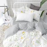 "BuLuTu Cotton Floral Print Bed Pillowcases Set of 2 Queen White Kids Pillow Covers Decorative Standard for Boys Girls Envelope Closure End (2 Pieces,20""×26"")"