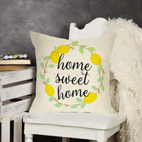 Softxpp Home Sweet Home Lemons Decorative Throw Pillow Cover, Farmhouse Spring Summer Cushion Case Decor Wreath Sign, Seasonal Square Pillowcase Decoration for Sofa Couch 18 x 18 Inch