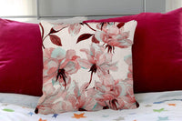 Throw Pillow Cover Watercolor Flower Rose Floral Maroon Allover Cotton Linen Pillow Case Cushion Cover for Home Couch Bedroom Decor Square 18x18 Inches Pillowcase