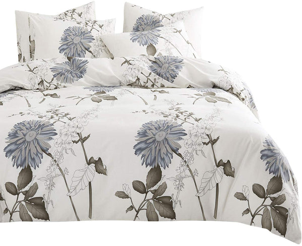 Wake In Cloud - Floral Comforter Set, 4 Pillow Cases, Botanical Flowers Pattern Printed, 100% Cotton Fabric with Soft Microfiber Inner Fill Bedding (King Size)