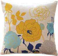 sykting Decorative Pillow Covers Farmhouse Cotton Linen Yellow and Aqua Throw Pillow Covers Cases 18x18 inch for Couch Sofa Bed Home Floral Pattern Pack of 2