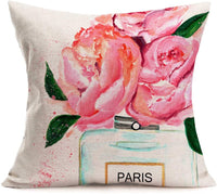 "ShareJ Throw Pillow Cover French Perfume Floral Hand Drawn Watercolor Trend Aroma Design Square 18""×18"" Pillowcase for Home Decor Cotton Linen Cushion Case"