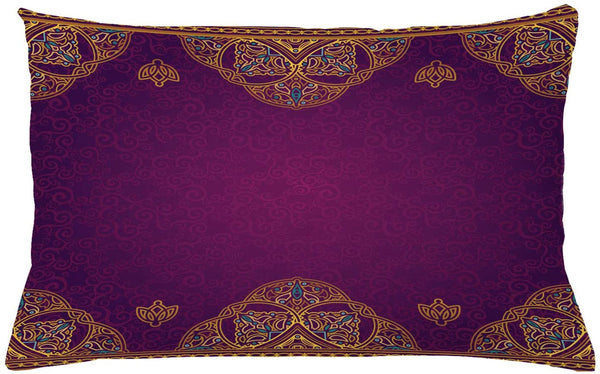 "Ambesonne Oriental Throw Pillow Cushion Cover, Eastern Style Ornamental Graphic Lace Pattern on a Background with Floral Swirls, Decorative Rectangle Accent Pillow Case, 26"" X 16"", Yellow Purple"