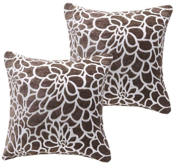 March Flower Pack of 2 Couch Pillows Throw Pillows Covers 100% Cotton Decorative Square Cushions Cases Pillowcases 20 x 20,Brown