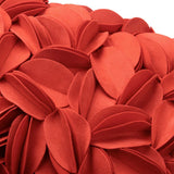 King Rose 3D Flower Accent Throw Pillow Cover Floral Decorative Pillow Case Soft Cushion Cover for Sofa Chair Bed Living Room Home Decor 12 x 20 Inches Solid Suede Orange Red