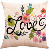 ZUEXT Spring Floral Love Throw Pillow Covers 18x18 Inch, Set of 4 Square Cotton Linen Outdoor Cushion Pillowcases for Sofa Couch Home Decor Valentines Mother's Birthday Day Housewarming Gift