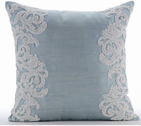 The HomeCentric Luxury Light Blue Throw Pillows Cover, Beaded Baroque French Theme Pillows Cover, 20x20 inch (50x50 cm) Pillow Case, Floral, Square Silk Pillowcase - White Waters
