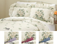 Collections Etc Magnolia Garden Floral Ruffle Pillow Sham, Lilac, Sham