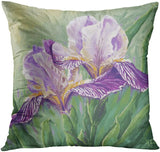 ArtSocket Set of 4 Throw Pillow Covers Watercolor Blossom Provence France Lavender Flower Summer Love Beautiful Green Iris Decorative Pillow Cases Home Decor Square 18x18 Inches Pillowcases