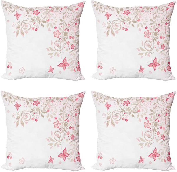 "Lunarable Floral Decorative Throw Pillow Case Pack of 4, Curly Branches Wildflowers Butterflies Dots Romantic Bridal Wedding Theme, Cushion Cover for Couch Living Room Car, 24"", Pink Cocoa Pale Pink"