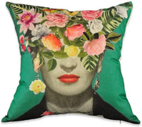 Mulzeart Set of 2,Decorative Throw Pillow Covers for Couch,Sofa,Bed,Frida Kahlo with Floral & Bird Throw Pillow Case,Cushion Cover Linen/Cotton 18 x 18inch