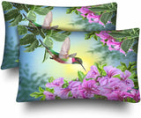 InterestPrint Hummingbird Bird Pink Floral Flower Animal Pillow Cases Pillowcase Standard Size 20x30 Set of 2, Rectangle Pillow Covers Protector for Home Couch Sofa Bedding Decorative