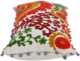 Trade Star Exports Suzani Embroidered Cotton Pillowcase, Pom Pom Decorative Pillow Cover, Floral Pillows Shams 12x24, Bohemian Pillow Cases
