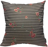 Mugod Small Flower Throw Pillow Cover Seamless Romantic Ditsy Floral on Black and White Stripes Decorative Square Pillow Case for Home Bedroom Living Room Cushion Cover 18x18 Inch
