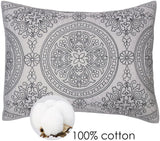 Elegant Life 100% Cotton Medallion Embroidered Standard Pillow Sham 20'' x 26'', Gray