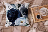 HerysTa Home Decorative Pillow Covers 18X18inch Invisible Zipper Cushion Cases Watercolor Floral Wreath Roses Peonies Leaves Boho Grey Navy White Indigo Blue Square Sofa Bed Décor,Gray Blue