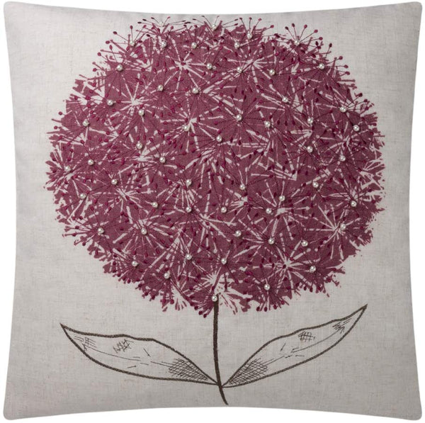 JWH Hand Embroidery Accent Pillow Case Faux Pearl Cushion Cover Dandelion Flower Pillowcase Home Sofa Bed Living Room Decorative Shell Gift Wine Red 20 x 20 Inch