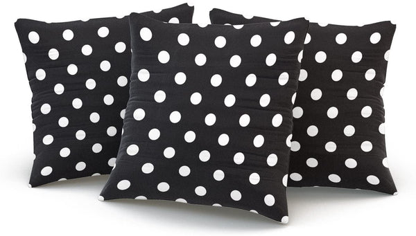 Hoooottle Custom Fancy Plush Black and White Polka Dot Square Pillowcase Zippered One Side Printed 16x16 Inches Throw Pillow Case Cushion Cover