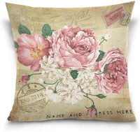 ZOEO Cushion Cover Vintage Shabby Chic White Rose Floral Square Decorative Pillowcase Throw Pillow Case Double Sided Valentine's Day Home Decoration 20x20 inch