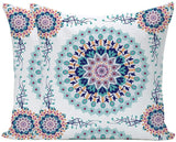 Wilproo Set of 2 Fantasy Compass Floral DecorativeThrow Pillow Cases Covers for Couch Bed Sofa 18 X 18 Inches Teal