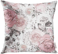 Golee Throw Pillow Cover Gray Abstract with Pink Flowers and Leaves on White Watercolor Floral Pattern Rose in Pastel Color Decorative Pillow Case Home Decor Square 18x18 Inches Pillowcase