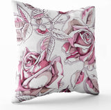 Crannel Zip Pillow Case,Double-Sided Printing Pillowcase 18X18 Inch Throwing Cushion,Floral Pattern Summer Garden Roses,Invisible Zipper Square Decorative Home Sofa,Ivory Pink