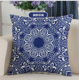 Cotton Linen Simple Beautiful Blue and White Porcelain Series of Magical Bohemian Floral Pattern Boho Style Square Throw Pillow Covers Cushion Cover Decorative Sofa Bedroom Living Room ¡­