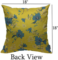 Mugod Blue Floral Throw Pillow Cover Bright Summer Many Kind of Flowers on The Yellow Background Decorative Square Pillow Case for Home Bedroom Living Room Cushion Cover 18x18 Inch