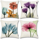 ONWAY Floral Throw Pillow Covers 18x18 Pink Flower Decorative Pillow Covers for Spring Decor, Set of 4