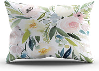 ONGING Decorative Pillowcases Colorful Watercolor Floral Customizable Cushion Rectangle Lumbar Size 12x24 inch Throw Pillow Cover Case Hidden Zipper One Side Design Printed