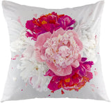 "oFloral Throw Pillow Cover Luxurious Peony Flower Pillow Case Square Cushion Cover for Sofa Couch Home Car Bedroom Living Room Decorative 18"" x 18"" Red Pink White"
