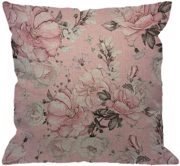 HGOD DESIGNS Flower Throw Pillow Cover,Watercolor Floral Delicate Wildflowers Pink Tansy Pansies Delphinium Queen Decorative Pillow Cases Linen Square Cushion Covers for Home Sofa Couch 18x18 inch