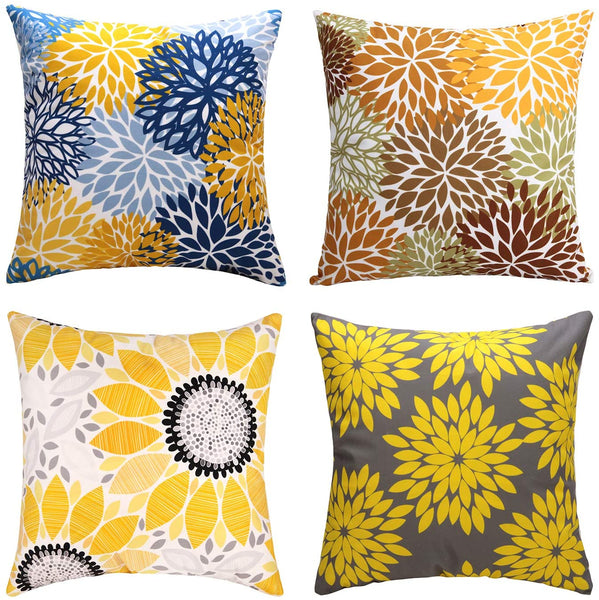 cygnus Farmhouse Decor Throw Pillow Cover 18x18 Spring Floral Pillowcase Cushion Cover for Sofa Bed Decorative Pack of 4