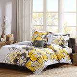 MI ZONE Allison Comforter Set Full/Queen Size - White, Yellow, Grey, Floral – 4 Piece Bed Sets – Ultra Soft Microfiber Teen Bedding for Girls Bedroom