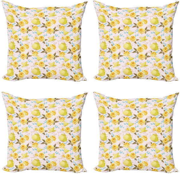 "Ambesonne Tea Decorative Throw Pillow Case Pack of 4, Fairytale Inspired Image with Tea Time Cups and Pots Floral Details, Cushion Cover for Couch Living Room Car, 20"", Turquoise Yellow"