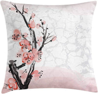 "Ambesonne Floral Throw Pillow Cushion Cover, Japanese Cherry Blossom Sakura Tree Branch Soft Pastel Watercolor Print, Decorative Square Accent Pillow Case, 24"" X 24"", Pink Coral"